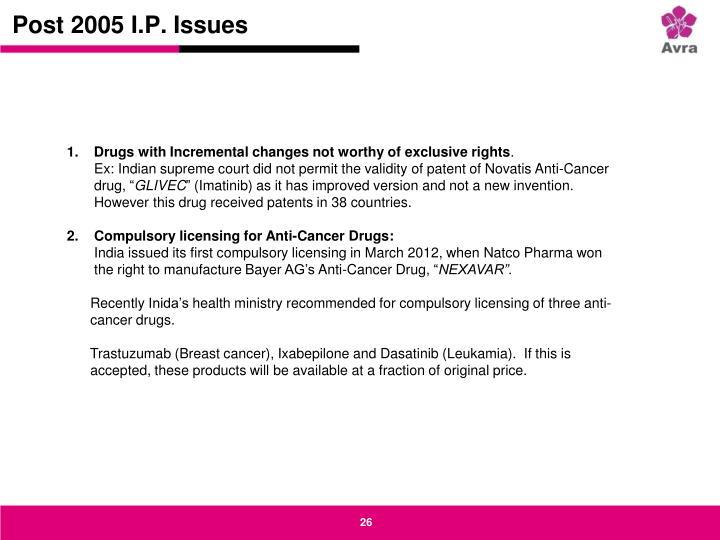 Post 2005 I.P. Issues