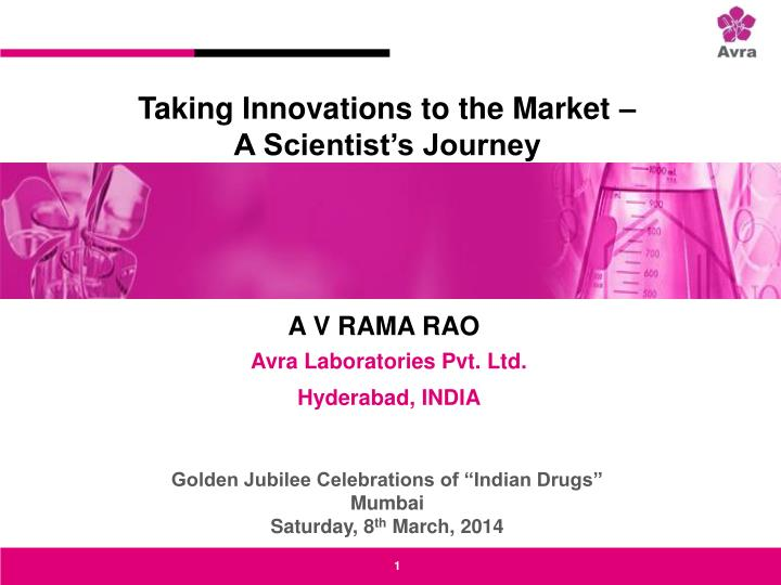 Taking Innovations to the Market –