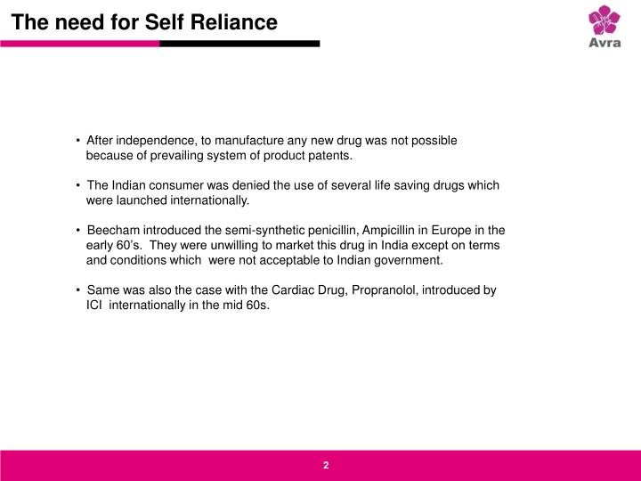 The need for self reliance