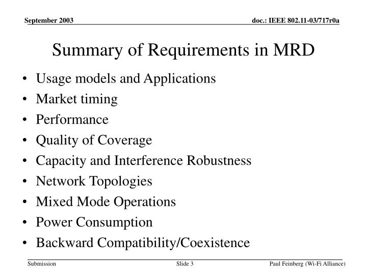 Summary of requirements in mrd