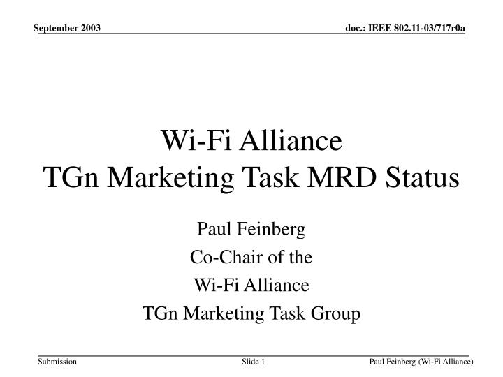 Wi fi alliance tgn marketing task mrd status