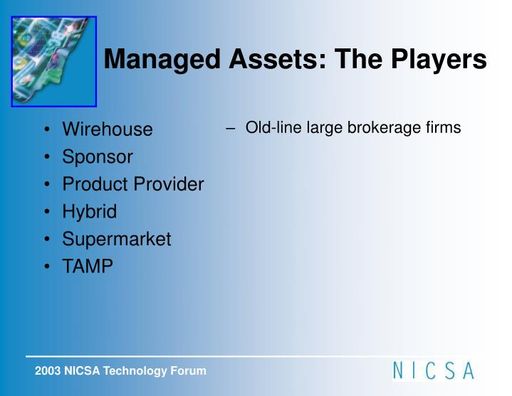 Managed Assets: The Players
