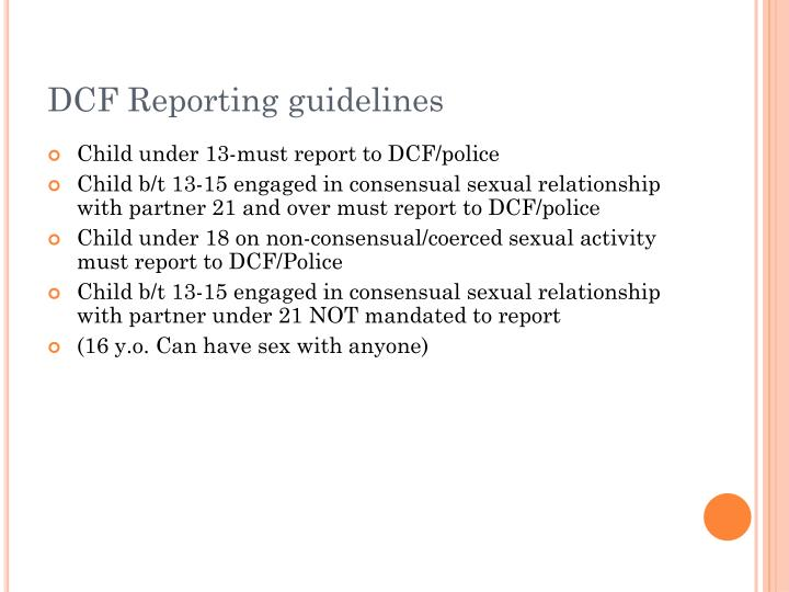DCF Reporting guidelines