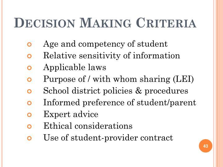 Decision Making Criteria
