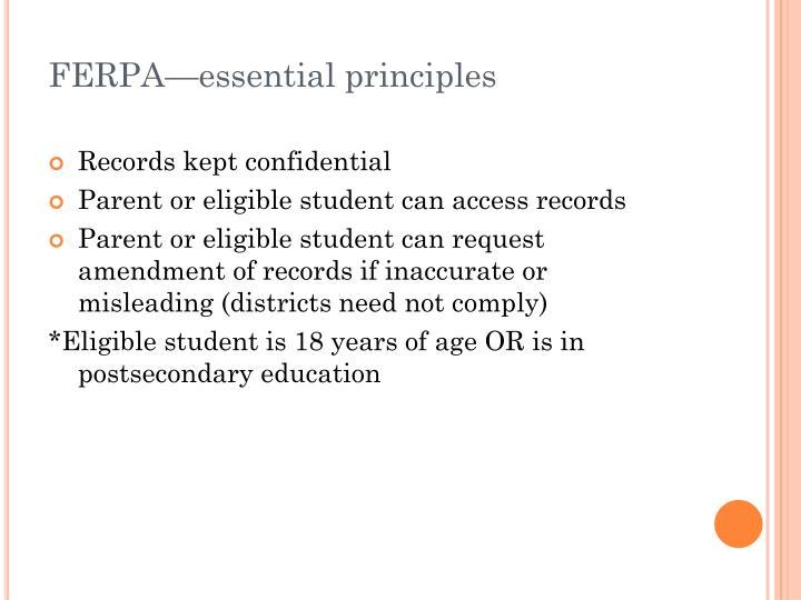 FERPA—essential principles