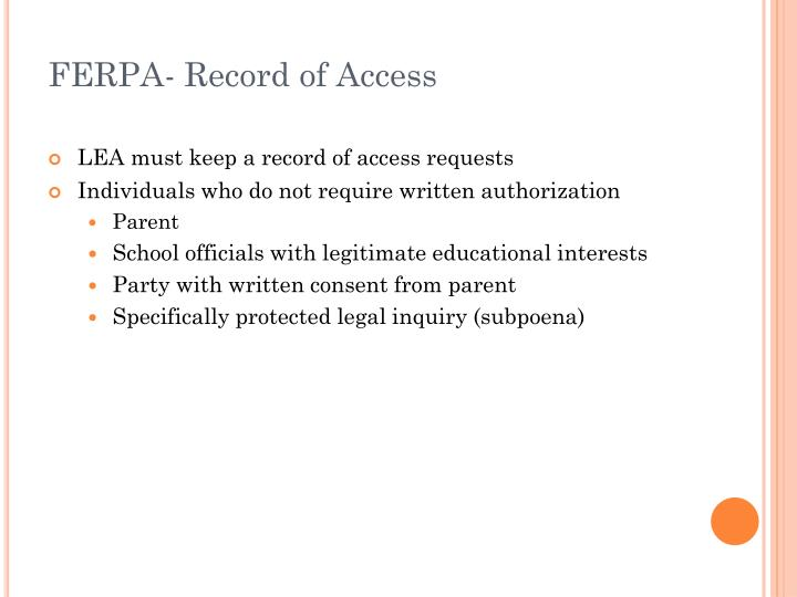 FERPA- Record of Access