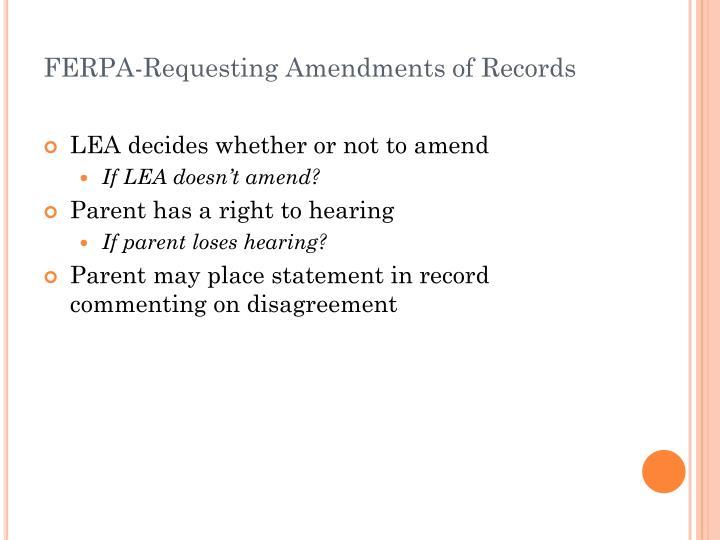 FERPA-Requesting Amendments of Records