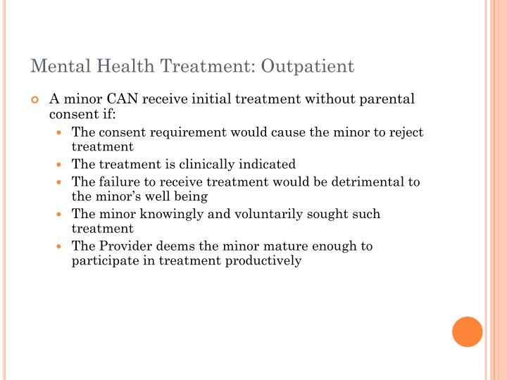 Mental Health Treatment: Outpatient