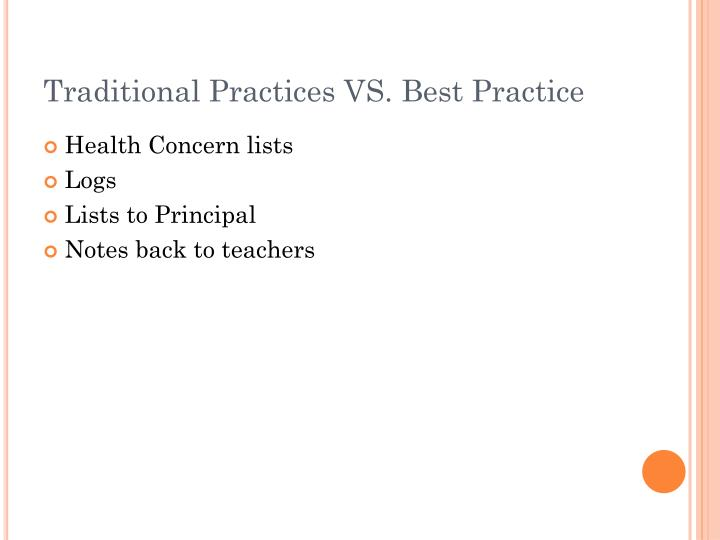 Traditional Practices VS. Best Practice
