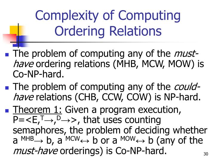 Complexity of Computing Ordering Relations