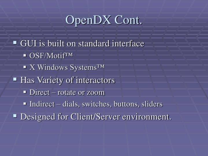 OpenDX Cont.