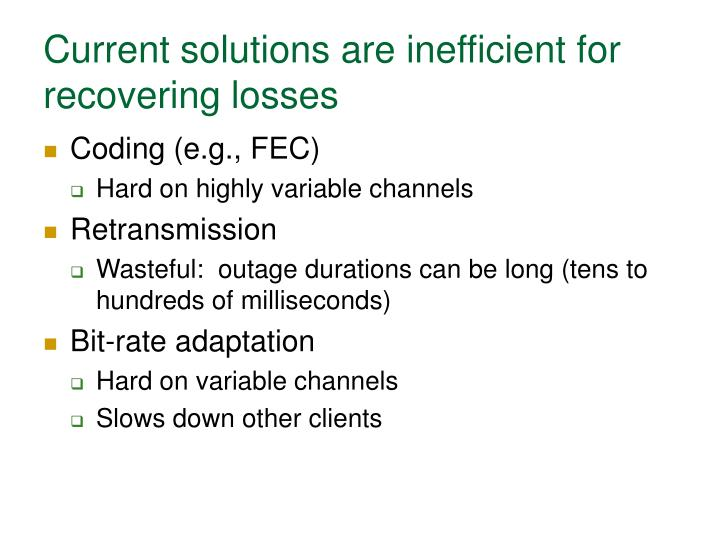 Current solutions are inefficient for recovering losses