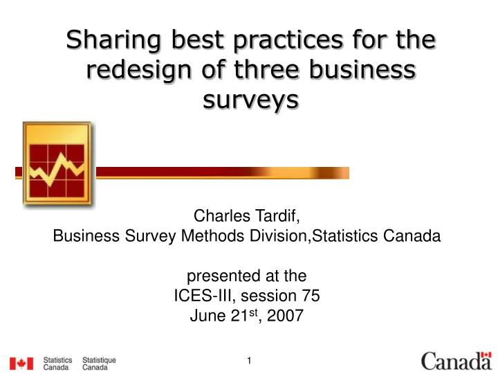 Sharing best practices for the redesign of three business surveys