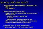 summary mrd after allosct