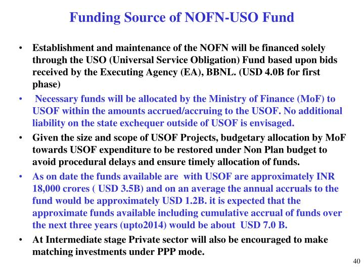 Funding Source of NOFN-USO Fund