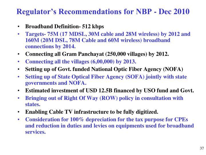 Regulator's Recommendations for NBP - Dec 2010