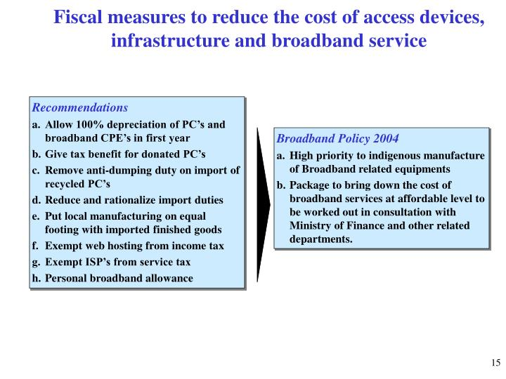 Fiscal measures to reduce the cost of access devices, infrastructure and broadband service