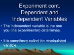 experiment cont dependent and independent variables