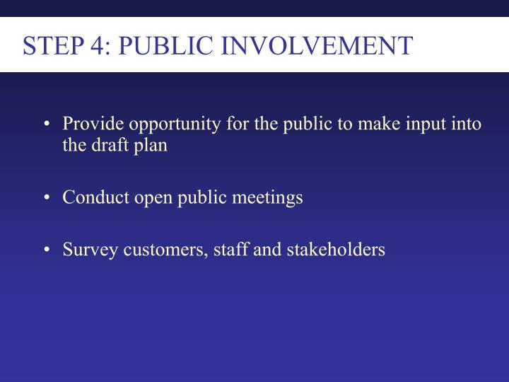 STEP 4: PUBLIC INVOLVEMENT