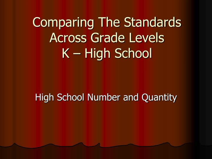 Comparing the standards across grade levels k high school