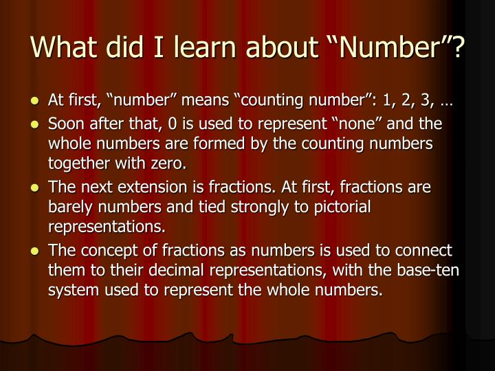 "What did I learn about ""Number""?"
