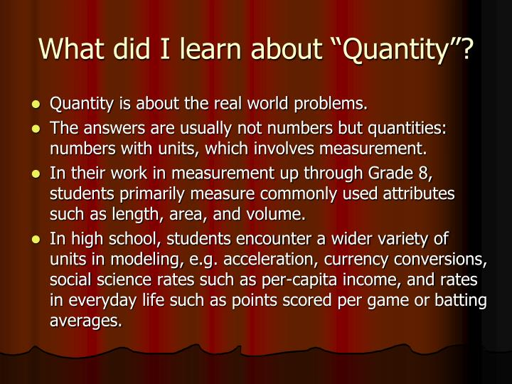 "What did I learn about ""Quantity""?"