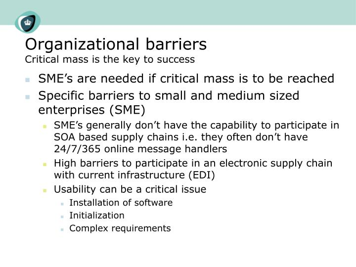 Organizational barriers