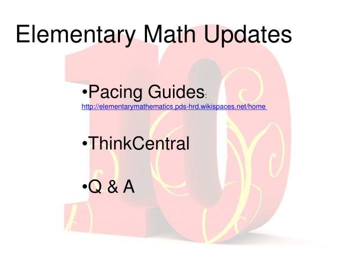 Elementary Math Updates