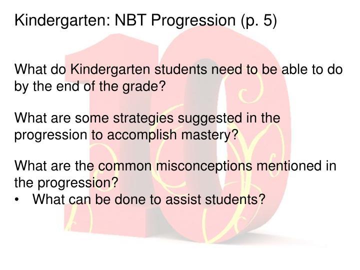 Kindergarten: NBT Progression (p. 5)
