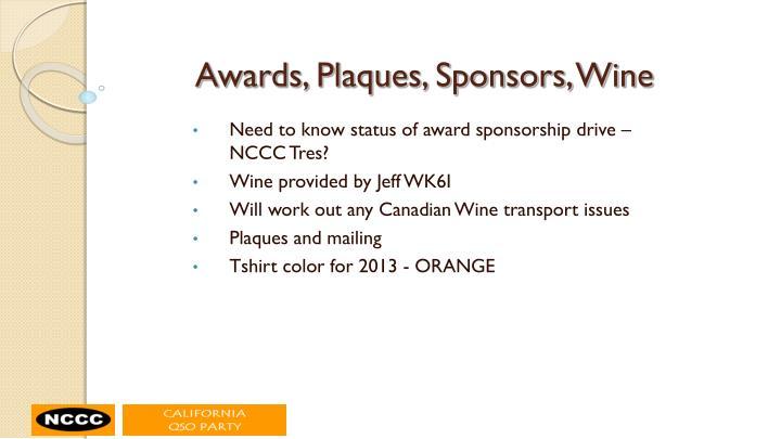 Awards, Plaques, Sponsors, Wine