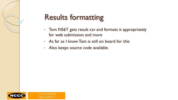 Results formatting
