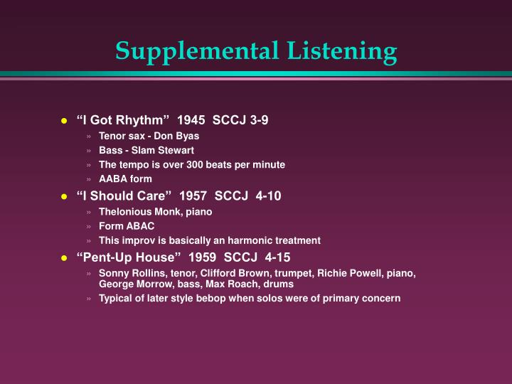 Supplemental Listening