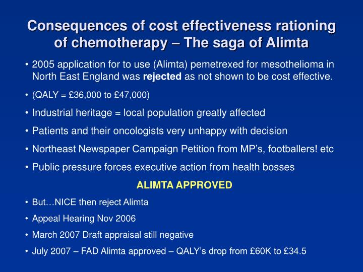 Consequences of cost effectiveness rationing of chemotherapy – The saga of Alimta