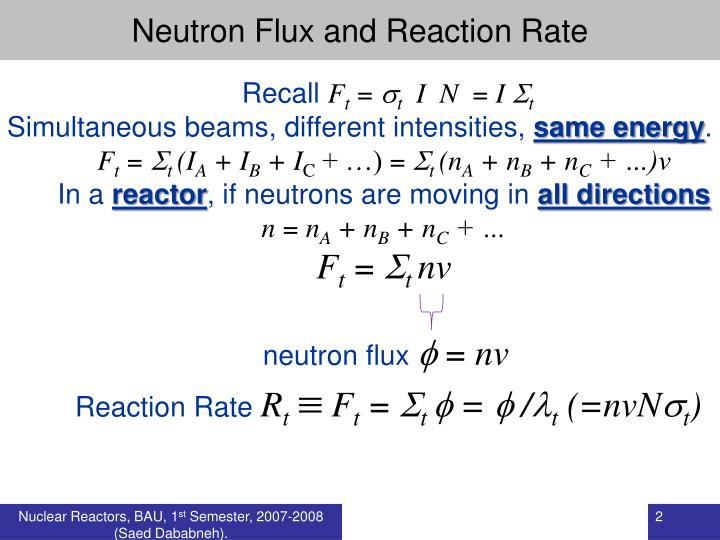 Neutron Flux and Reaction Rate