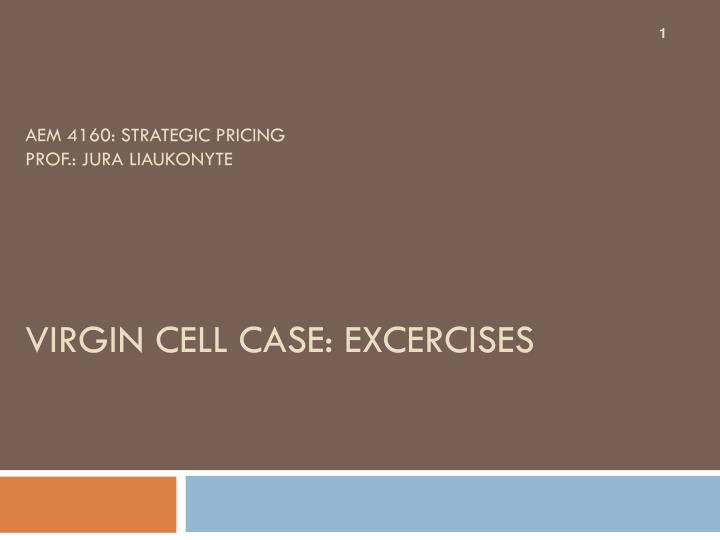 Aem 4160 strategic pricing prof jura liaukonyte virgin cell case excercises