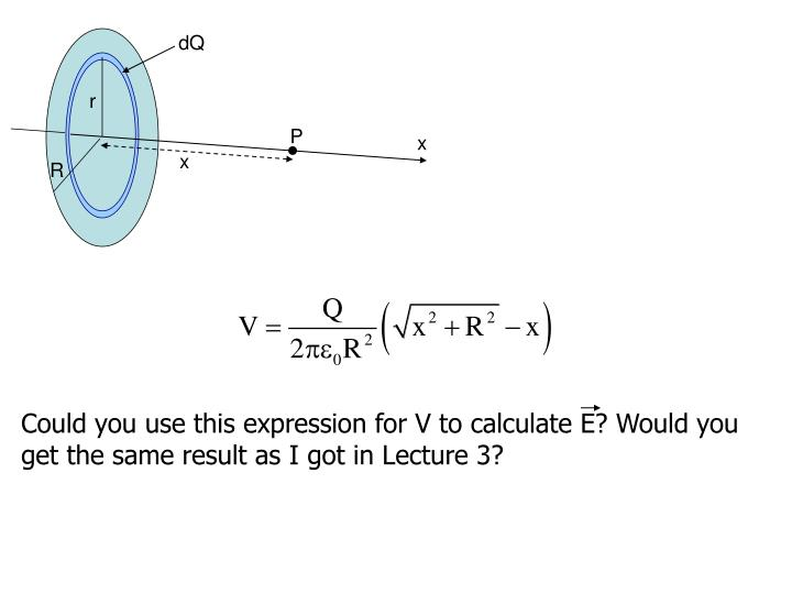 Could you use this expression for V to calculate E? Would you get the same result as I got in Lecture 3?