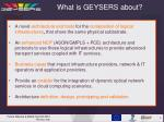 what is geysers about