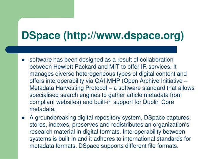 DSpace (http://www.dspace.org)