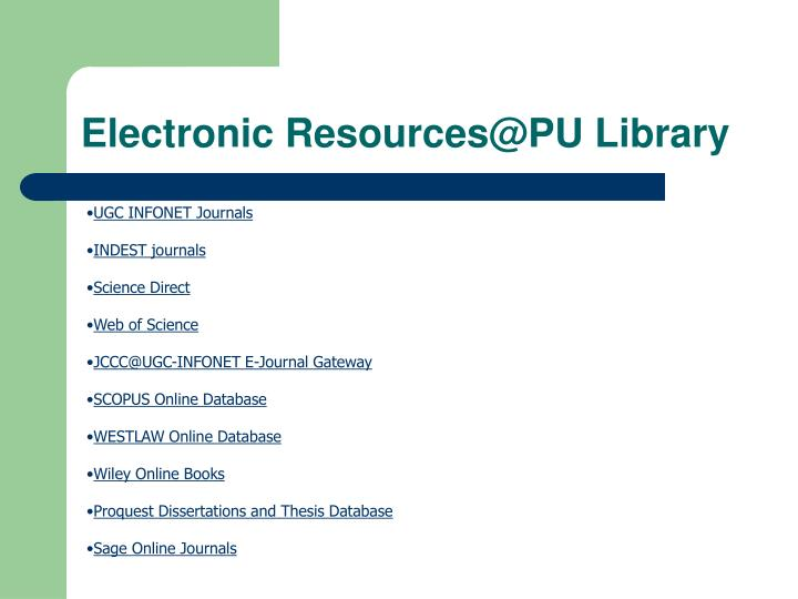 Electronic Resources@PU Library