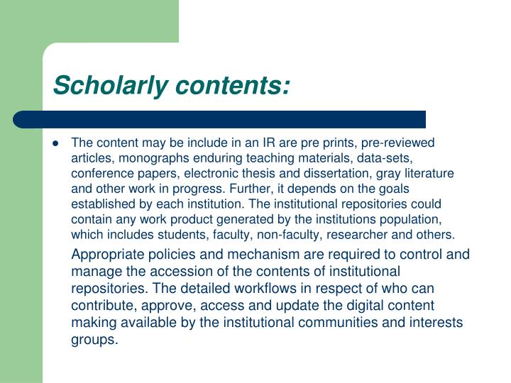 Scholarly contents: