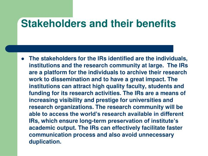 Stakeholders and their benefits