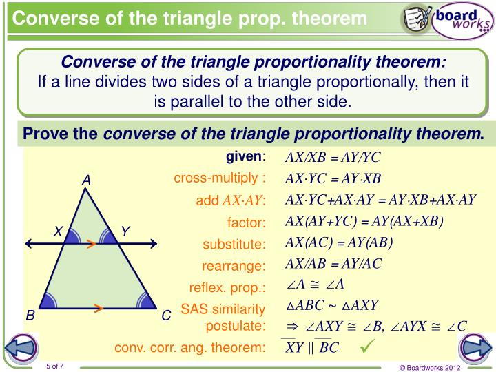 Converse of the triangle prop. theorem