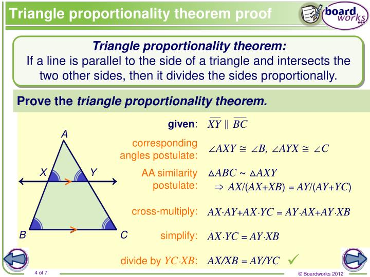 Triangle proportionality theorem proof