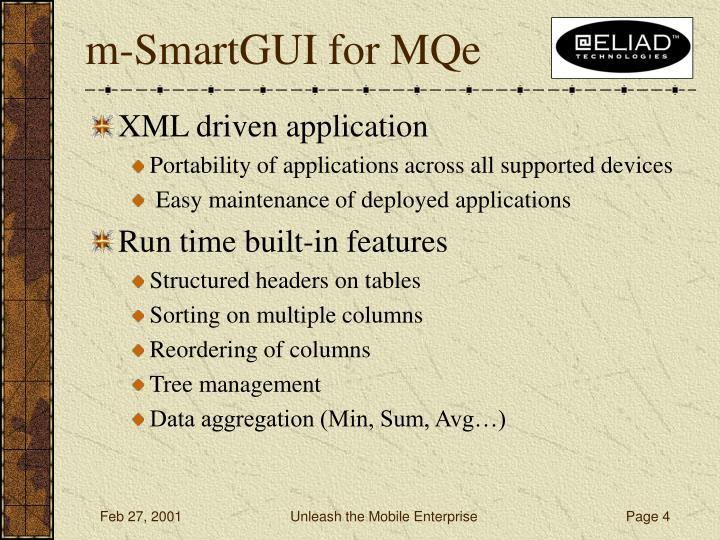 m-SmartGUI for MQe