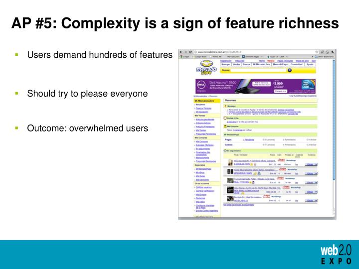 AP #5: Complexity is a sign of feature richness