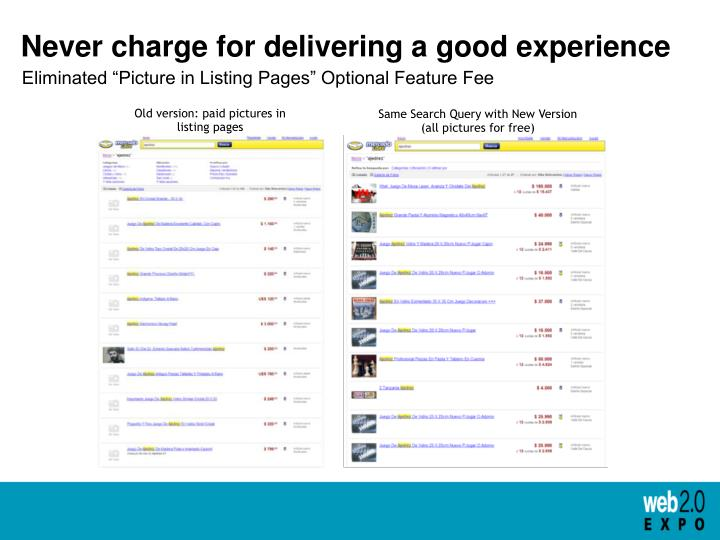 Never charge for delivering a good experience