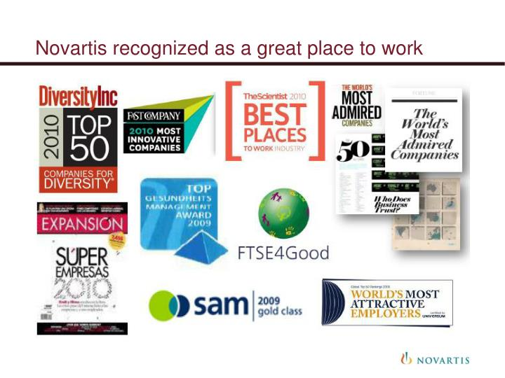 Novartis recognized as a great place to work