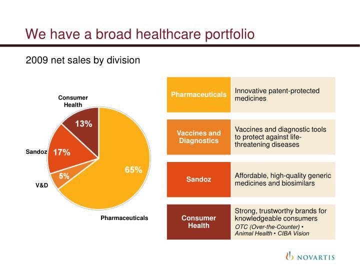 We have a broad healthcare portfolio