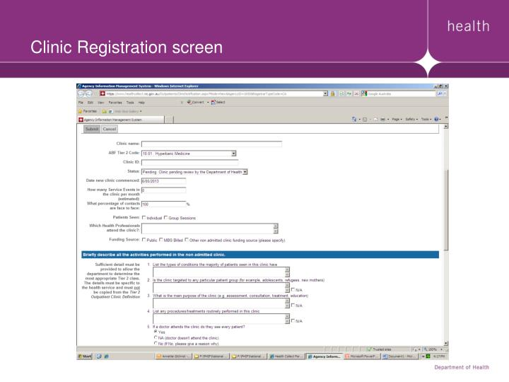 Clinic Registration screen