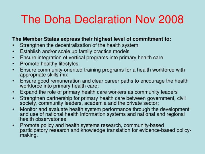 The Doha Declaration Nov 2008